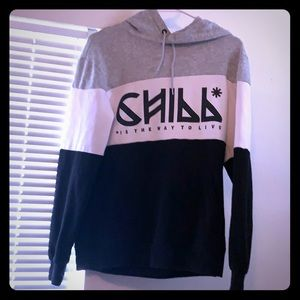 Black grey and white colorblocking H&M hoodie XS